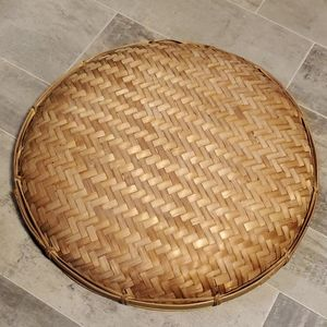 Vintage Accents - EUC XL Wicker Shallow Boho Basket Decor
